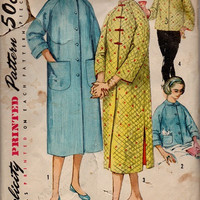 Simplicity 1950s Sewing Pattern Mandarin Style Collar House Dress Robe Bathrobe Bed Jacket Housecoat Bust 33