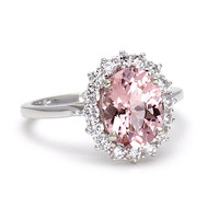 Morganite Engagement Ring Pink Morganite Ring Conflict Free Diamonds Oval Cluster 14K White Yellow or Rose Gold