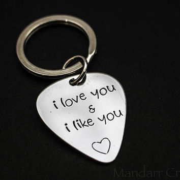Aluminum Guitar Pick Keychain Hand Stamped with I Love You and I Like You and Heart Outline, Gift for Couples
