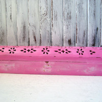 Pink Incense Box, Incense Burner, Incense Coffin, Shabby Chic Distressed Incense Holder, Beach Cottage Up Cycled Incense Cone Holder