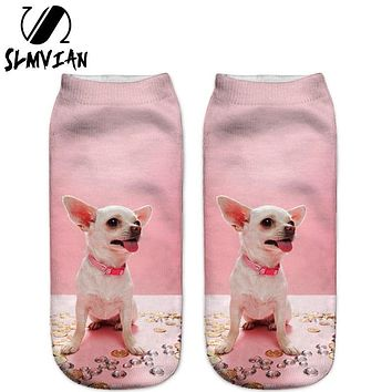 SLMVIAN New 3D Printed Chihuahua Dog Puppy Women Socks Cute Low Cut Ankle Sock Multiple Colors Fashion Style CN005