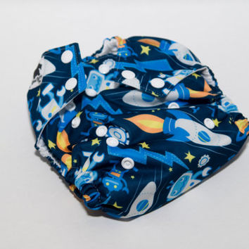 Rockets and Robots - One Size Cloth Diaper - OS Baby Diaper - Outer Space Diaper - Cloth Diaper Cover - Pocket Diaper - AI2 Diaper