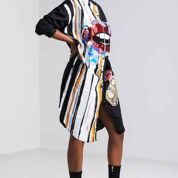 Oversized Sequin Lip Print Shirt Dress in White, Black
