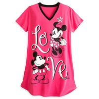 Licensed cool MICKEY MINNIE MOUSE LOVE FITTED NIGHT SHIRT DISNEY STORE Women M/L & 3X