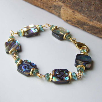 Etsy, Etsy Jewelry, Beaded Bracelet, Beaded Jewelry, Abalone Shell and Blue Faceted Beaded Bracelet, Wire Wrapped Bracelet