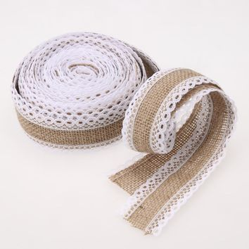 Christmas Wedding Decoration 5m Natural Jute Roll Burlap Hessian Lace Ribbon Roll + White Lace Edge Roll Party Decor
