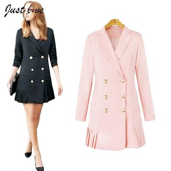 Women Oversize Blazer Turn-down Collar Auutmn Winter Full Sleeve Double Breasted Office Ladies Long Blazer Jacket  Work Wear