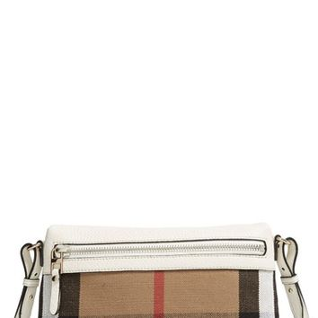 Burberry 'Small Farley' Canvas Check & Leather Clutch Bag