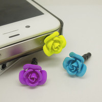 1PC Metal Rose Flower Cell Phone Earphone Jack Anti dust Plug Charm for iPhone 4s,4g,5,5s,Samsung S4, Nokia HTC Kids Gift