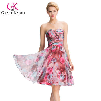 Grace Karin Short Prom Dresses Chiffon Sweetheart Knee Length Print Floral Dress Empire Waist High Quality Pattern GK000056