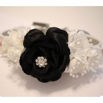 Black and Ivory Wedding Dog Collars, Floral Pet Wedding ideas, Birthday, Occasions