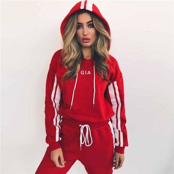 GIA Women Fashion Hooded Sport Top Sweater Pants Trousers Set Two-Piece