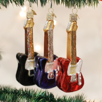 Old World Christmas Handcrafted Blown Glass Ornament -- Electric Guitar