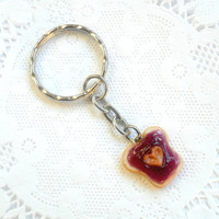 Peanut Butter Heart and Grape Jelly Keychain, Purse Charm, or Phone Charm (Dust Plug or Cell Phone Strap), Cute :D