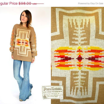 25% OFF SALE PENDLETON native indian Southwestern folk western Sweater jumper pullover, extra small-