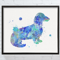 Long Haired Dachshund Art, Dachshund Print, Dachshund Wall Decor, Long Hair Dachshund, Dachshund Watercolor Print, Dog Print, Dog Lover
