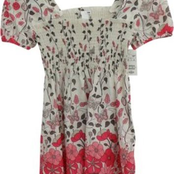 H&M Ecru, Brown And Pink Baby Doll Puff Sleeve Floral Print Square Neck Border Print Butterfly Shirred Top 20% off retail