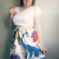 Vintage Dinosaur High Waisted Party Skirt
