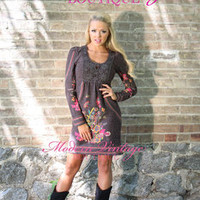 Fall and Winter Wonderland Embroidered Dress Brown