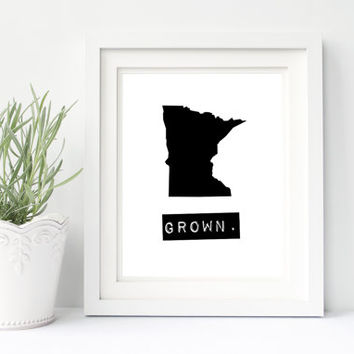 Minnesota wall art, Minnesota home sign, personalized home decor, black and white state print, custom map print Minnesota gifts custom gifts