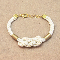 Knot bracelet, nautical bracelet with knot and tubes, knit bracelet with brass tubes