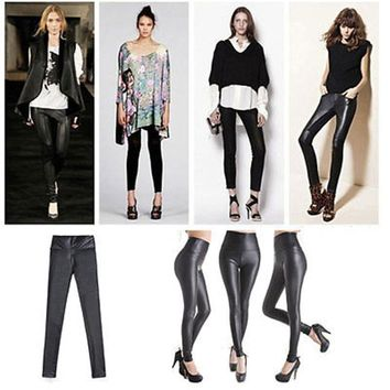 Shiny Metallic High Waist Black Stretchy Leather Leggings Plus One Size