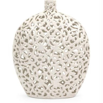 Decorative Vase - White Lace Pattern