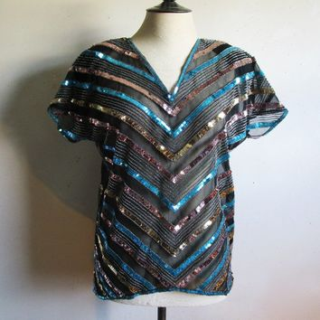 1980s Argenti Silk Sequin Beaded Top Black Gold Blue Disco Sequins Chevron Stripe 80s Flashy Dance Blouse Medium