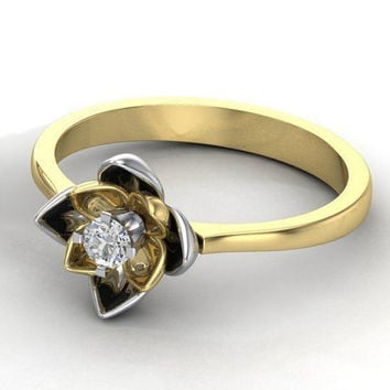 Unique Engagement ring Flower ring Diamond ring Floral ring 18K Yellow & White gold Engagement gift