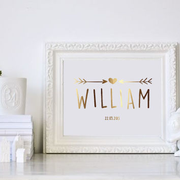Custom Name, Custom Gold Foil Print, Baby Boy Nursery, Real Gold Foil Print, Custom Name Print, Gold Nursery Decor, Nursery Print.