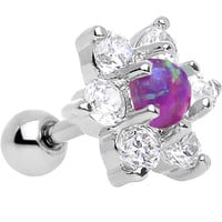 "1/4"" Pink Faux Opal Clear Petaled Floral Tragus Cartilage Earring 