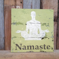 Namaste olive green wall hanging sign distressed yoga home decor gym wood gift shabby chic new age urban word decor rustic vintage style