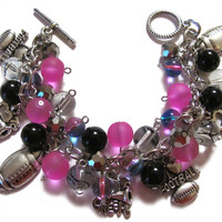 Love to Cheer Charm Bracelet Black Silver Hot Pink Beaded Handmade