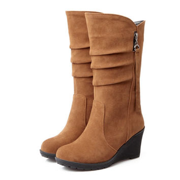 mid calf wedges boots