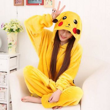 Women Character Animal Pajamas Pikaqiu Cosplay Full Sleeve Hooded Pajama Sets Flannel Coral Fleece Onsie Adult Plus Size Pyjamas
