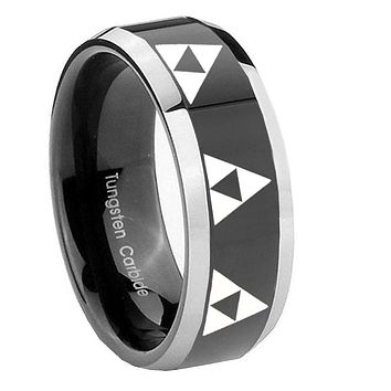 8MM Glossy Black Multiple Zelda Triforce Bevel Edges 2 Tone Tungsten Laser Engraved Ring