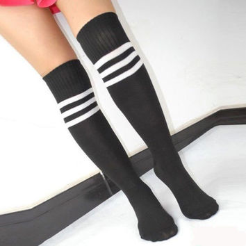 Women's Football Striped Long Tube Socks Soccer Lacrosse Rugby Sport Knee High Black Socks