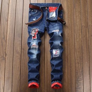 Ripped Holes Slim Stylish Jeans [454562283549]