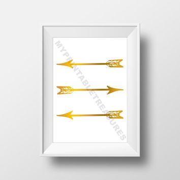 Arrow Wall Art, Simple Modern Printable Art, Wedding, Gold Arrow Digital Download, 8x10 Home Decor