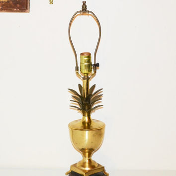 Vintage Brass Pineapple Lamp Hollywood Regency Brass Lamp Mid Century Urn Pineapple Lamp Chinoiserie Chic