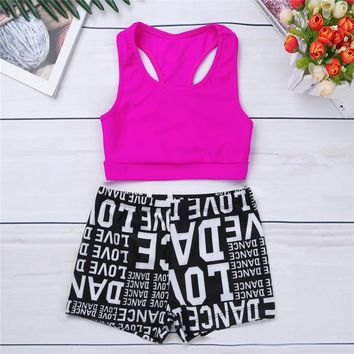 2PCS Kids Girls Tank Top with Letters Printed Bottoms Athletic Shorts Dance Gym Workout Vest Children Underwear Youth Tankini