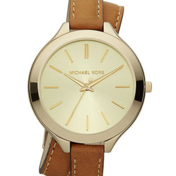 Michael Kors Double-Wrap Leather Watch, Golden