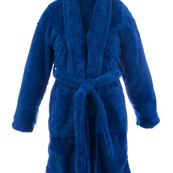 Kids Microfiber Fleece Shawl Robe - Boys - Royal Blue - Small