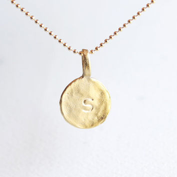 Initial Circle Necklace - personalized gold initial disc 14k gold filled necklace, customized letter necklace