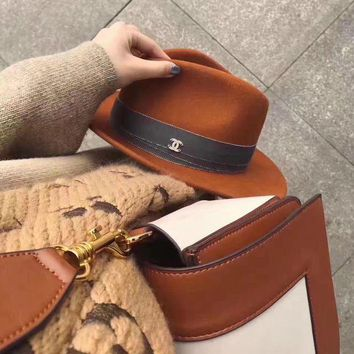 DCCKH3L Chanel' Autumn Winter Casual Fashion All-match Retro Jazz Cap Wool Large Brimmed Hat Women Top Hat