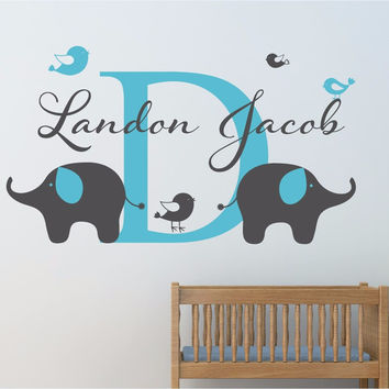 Personalized Childrens Name Elephant Wall Decal Custom Name Vinyl Wall Sticker Baby Nursery Wall Decal Home Decoration DIY D-78