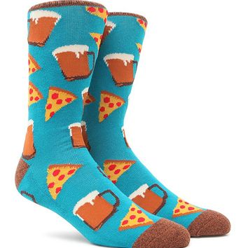 """New"" Socks Beer & Pizza Crew Socks - Mens Socks - Blue - One"