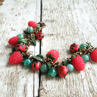 FREE SHIPPING Raspberries and Ladybugs Polymer Clay Bracelet with Natural Green Agate. Fresh Summer Jewelry. Fruit Bracelet. Gift  for girl.