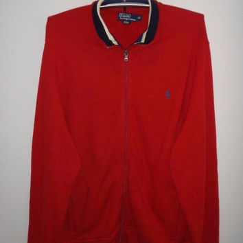 Vintage Polo Ralph Lauren RL Jacket Zip Up Trainer Sweater Polo Pony Nice Mods Multi Color Outdoor Jackets