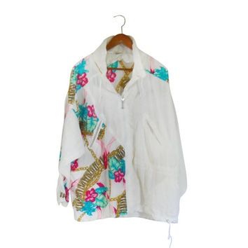 Women Windbreaker 80s Windbreaker 90s Windbreaker Plus Size Jacket Baroque Jacket White Windbreaker Wind Breaker Plus Size Clothing Clothes